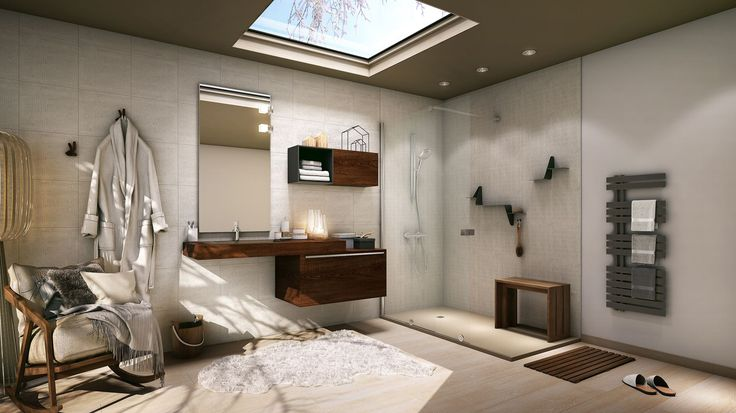 Une ambiance Scandinave chaleureuse apportée par le bois clair, associée à des teintes anthracite et beige, pour une salle de bain où il fait bon vivre.