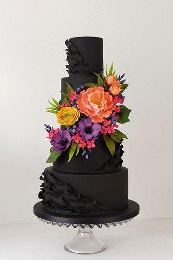 Black-and-Bright-Floral-Hochzeitstorte-2   – Cake Ideas, Fine cakes
