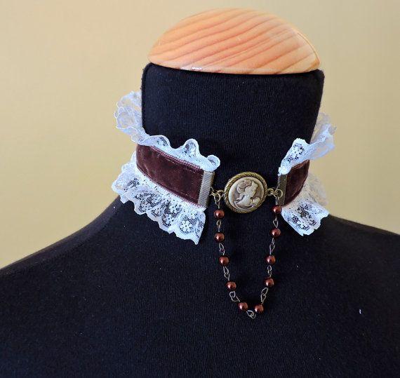 Gargantilla camafeo, Gargantilla victoriana con encaje, Gargantilla de terciopelo, Joyería Victoriana,Collar boda victoriano,Collar elegante