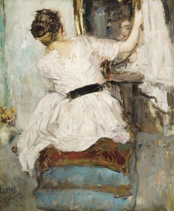 Femme se regardant dans un miroir jean laudy 1877 for Se regarder dans un miroir