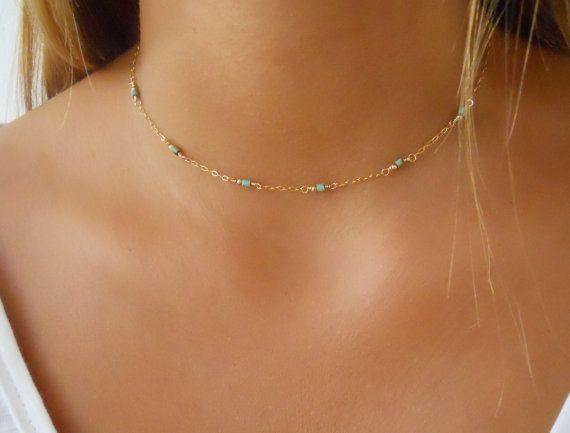 Delicate Bead Necklace Minimalist Gold & Turquoise by annikabella
