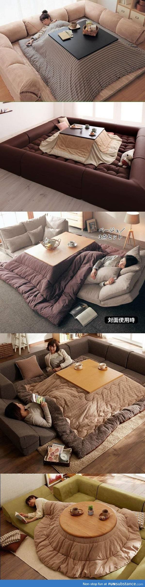 "Omg, I'd never leave this spot and happily die here haha. ""Japanese style. Rather than heating the whole house, just heat under the table."""