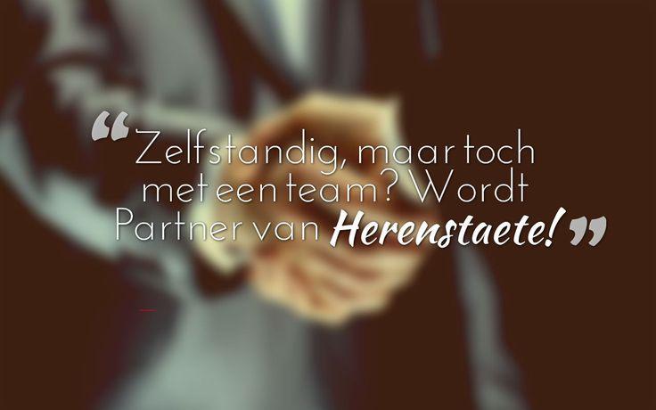 Zelfstandig, maar toch met een team? Wordt partner van Herenstaete. http://im.nu/5hn895 #partner #financiering #vacature