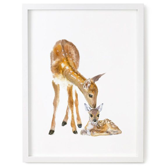 Nursery Woodland Decor, Deer Print, Nursery Forest Art, Deer and Fawn Print…