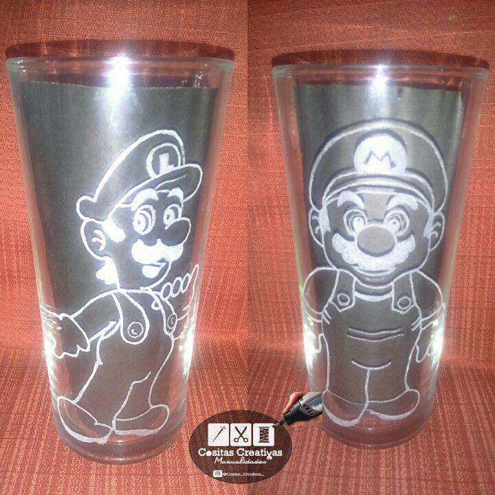 Tallado en vidrio Luigi y Mario Bros
