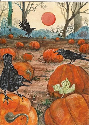 halloween aceo print of painting ryta folk art pumpkin patch autumn raven crow - Halloween Crows