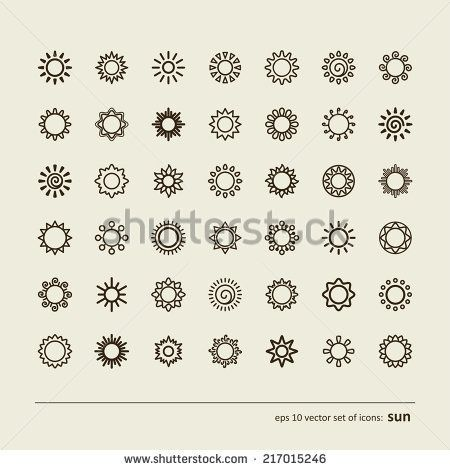Set with icons – the sun. A vector. – stock vector – #icon #Icons #Set #Stock #sun #Vector
