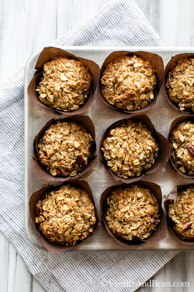 Beautiful Banana Oat Crunch Muffins perfect for breakfast or brunch | Vanilla And Bean