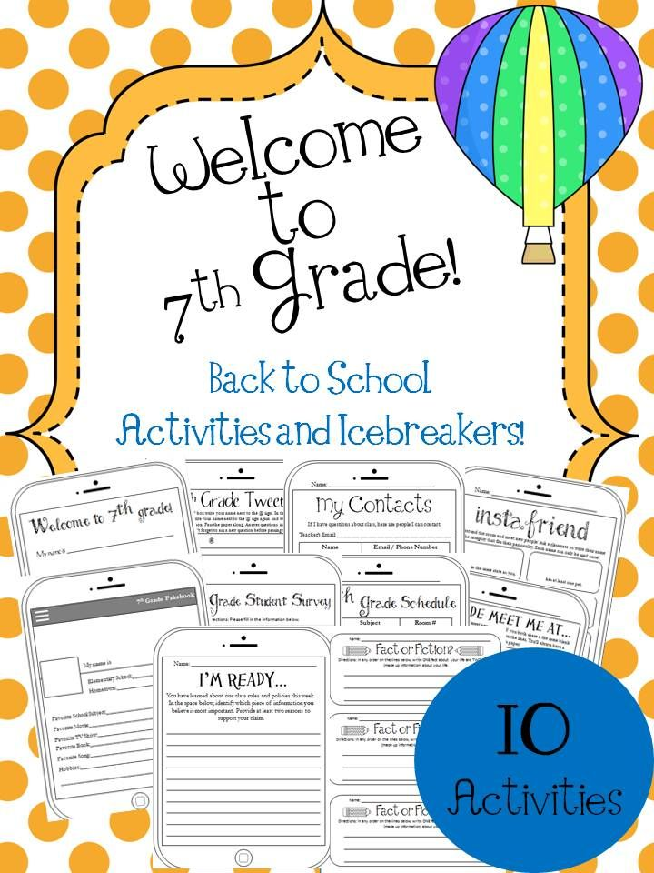 School Worksheets 7th Grade : Th grade back to school activities and icebreakers new