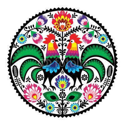 Zdjęcie Polish floral embroidery with roosters folk pattern | Fototapety | Dekoracje Na Wymiar