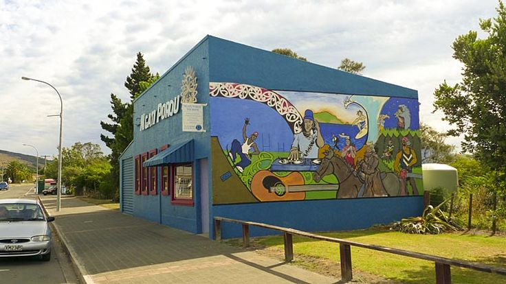 The wonderful mural of the, Ngati Porou, offices, see more at New Zealand Journeys app for iPad www.gopix.co.nz
