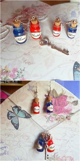 Health and Mana Magic Set #health and #mana #potion #bottle #charm #key #gamer #fantasy #red and #blue