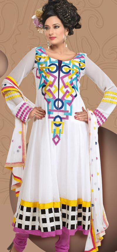 $65.03 White Printed Faux Georgette Anarkali Salwar Suit 22099