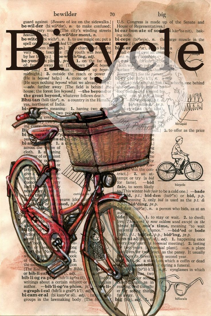 Red Bicycle Mixed Media Drawing on Distressed, Dictionary Page - Available for purchase at www.etsy.com/shop/flyingshoes - flying shoes art studio