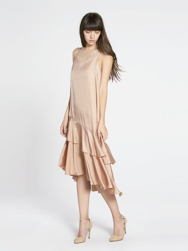 Image of Veronique Tiered Hem Midi Dress