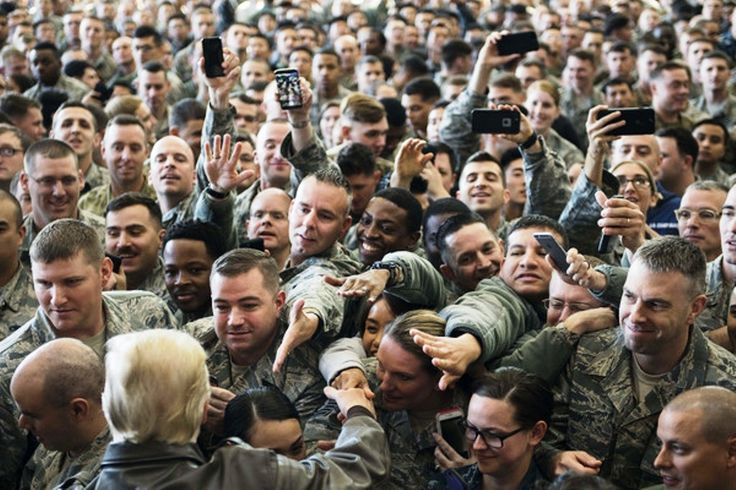 Photos Of President Trump And U.S. Soldiers