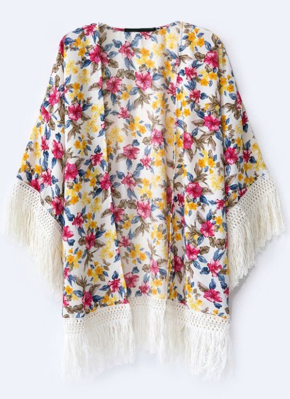 Red Yellow Floral Contrast Tassel Blouse 17.67