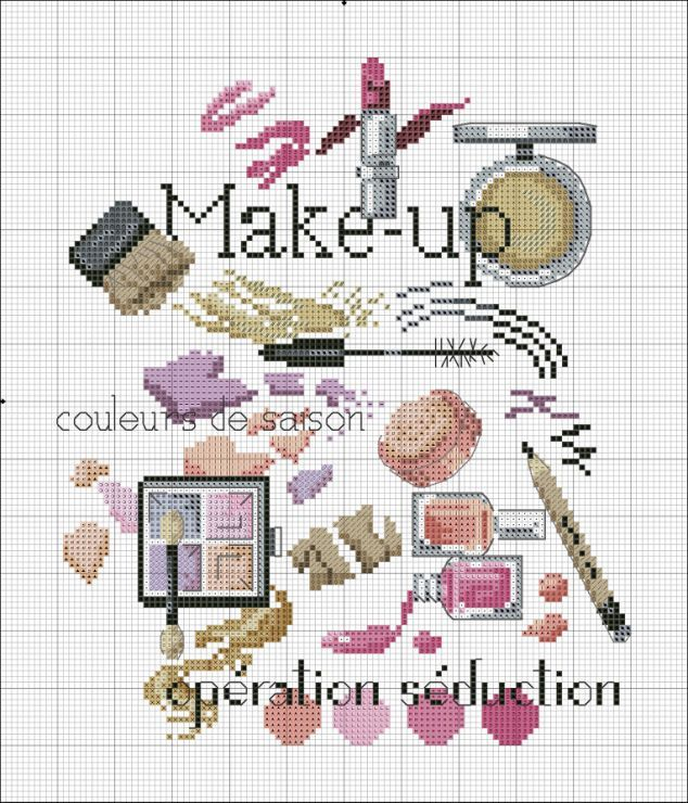 0 point de croix maquillage - cross stitch make-up