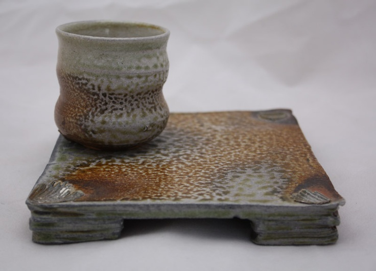 Cup and plate. Wood/soda fired