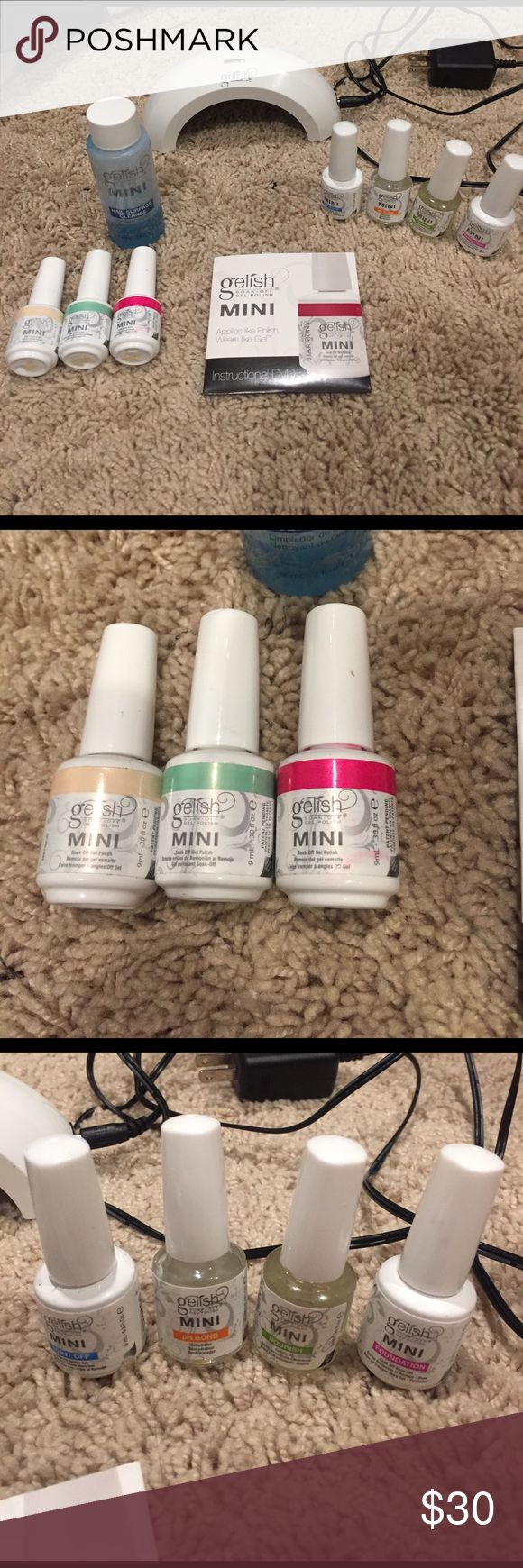 Gelish/shellac nail kit Gelish nail polish kit with light, 3 colors, nail surface cleanse, foundation, top cost, nourish oil and pH bond. Barely used, no more than 5 times. In excellent condition and all bottles are nearly full except for the cleanse, which is approx 1/4 full. Makeup