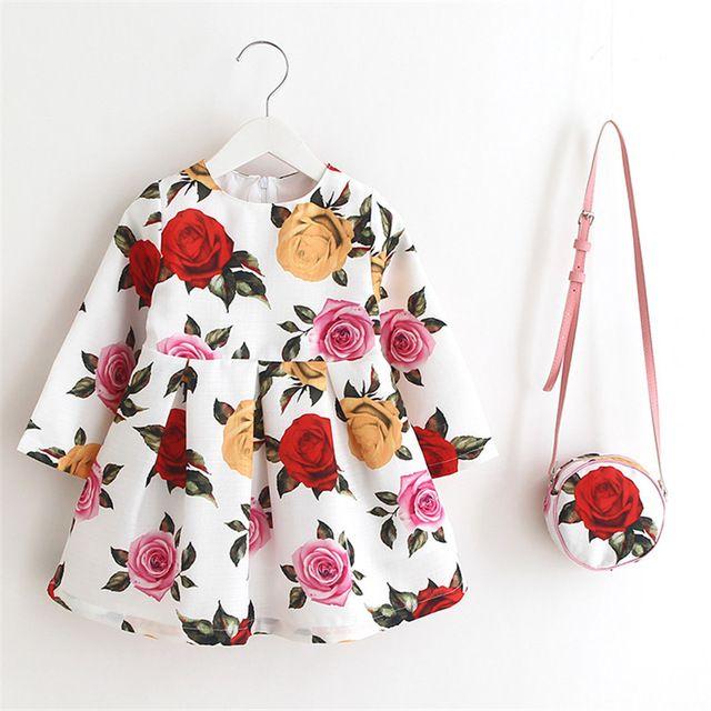 Big Sale $18.91, Buy Girl Christmas Dress 2017 Spring Autumn Long Sleeve Floral Print Toddler Girl Dresses Kids Clothes Children Dress with Bag