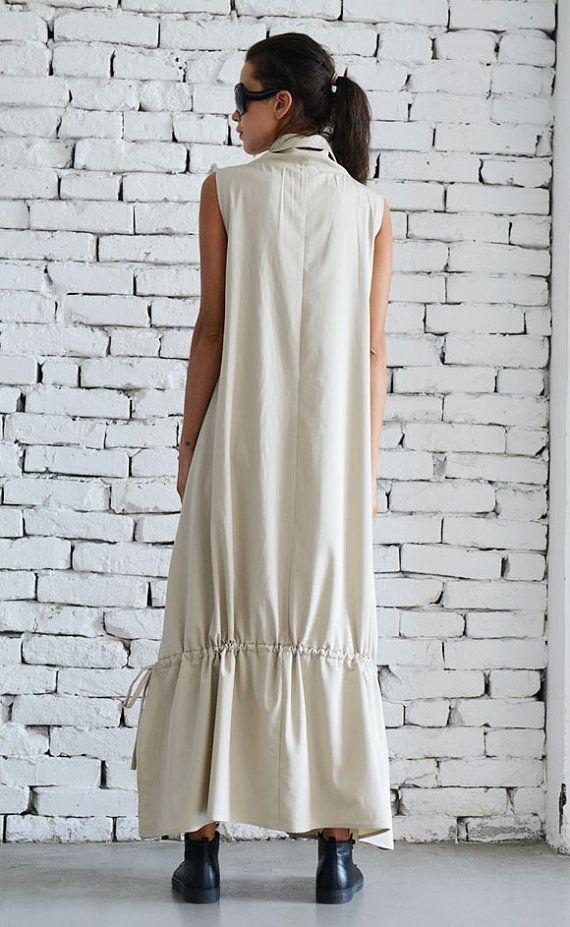 Asymmetric Loose Long Dress/Cream Color Kaftan/Oversize Sleeveless ...
