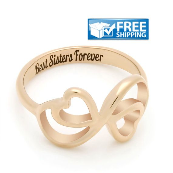 """#Sister Gift - Double #Hearts Promise Sister #Ring Engraved on Inside with """"Best Sisters Forever"""", Sizes 6 to 9"""