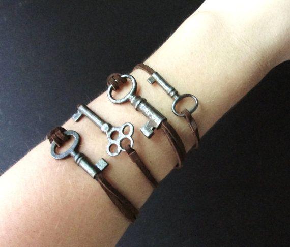 Skeleton Key Bracelet on Rustic Leather Cord by aptoArt on Etsy, $18.00