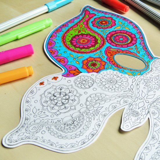 Make a beautiful butterfly mask with these free printables. Choose the mask with Paisley pattern to color in or blank for your own design.