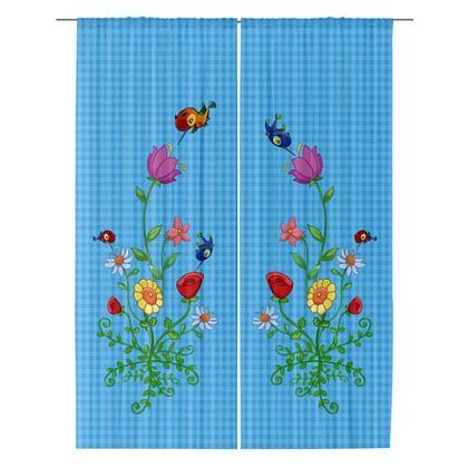 HummingBird Blue checked sheer Curtains by sparkheadkids.com