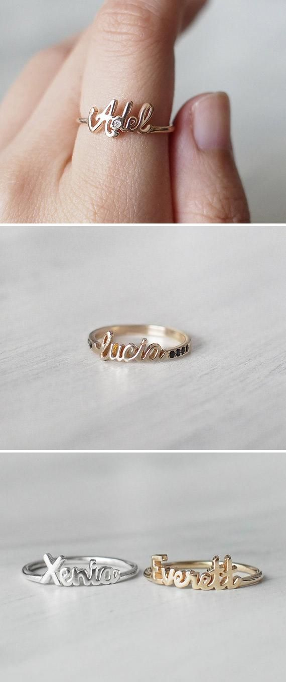 Surprise mom with custom stacking rings that spell out her kids' names (birthstones optional). #etsy