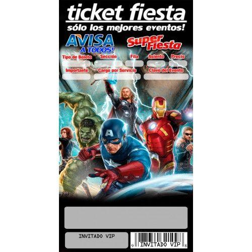 1 Paquete Invitaciones Tipo Ticket Avengers. Tamaño 8x15 cm..Orden con 20 invitaciones.Impresión 1 solo lado. Lustrolito de 300 grms.