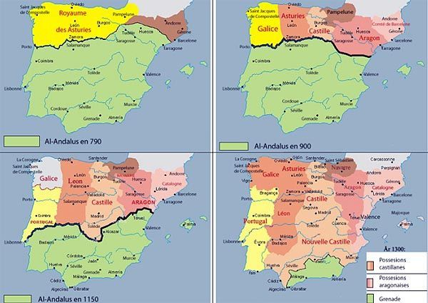 Map Of Spain 711.Mapa Espana Medieval 711 1492 Al Andaluz Y Los Reinos Cristianos
