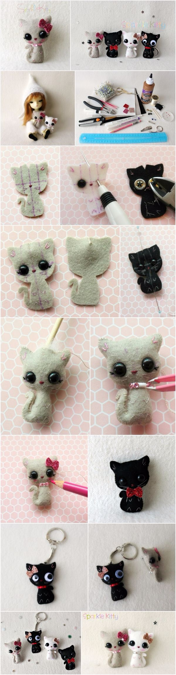 What you'll need to make one: ::  2.5 x 4 inch felt for main body                            ::  1 x 1 inch glitter felt or coloured felt for bow ::  2 x 7.5mm safety eyes                                       ::  4 – […]