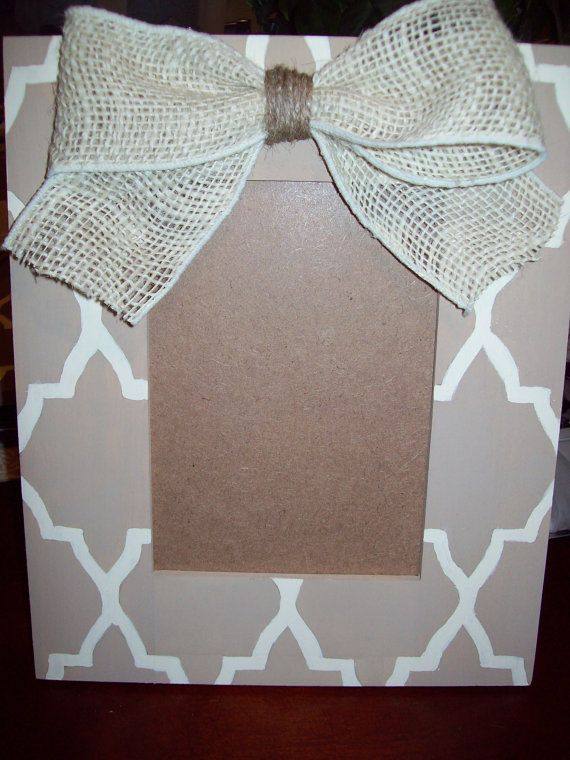 Hand Painted Shabby Chic Burlap Home Decor Frame 5x7,