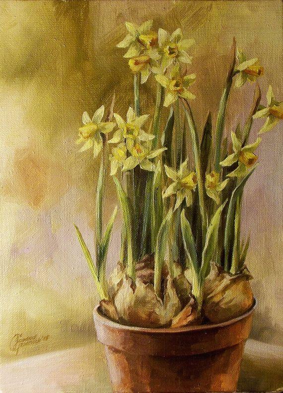 Pittura di Narciso Spring design parete pittura a olio fiore di Narciso. Originali e fatti a mano. Fiore giallo pittura floreale. Miracoli di primavera
