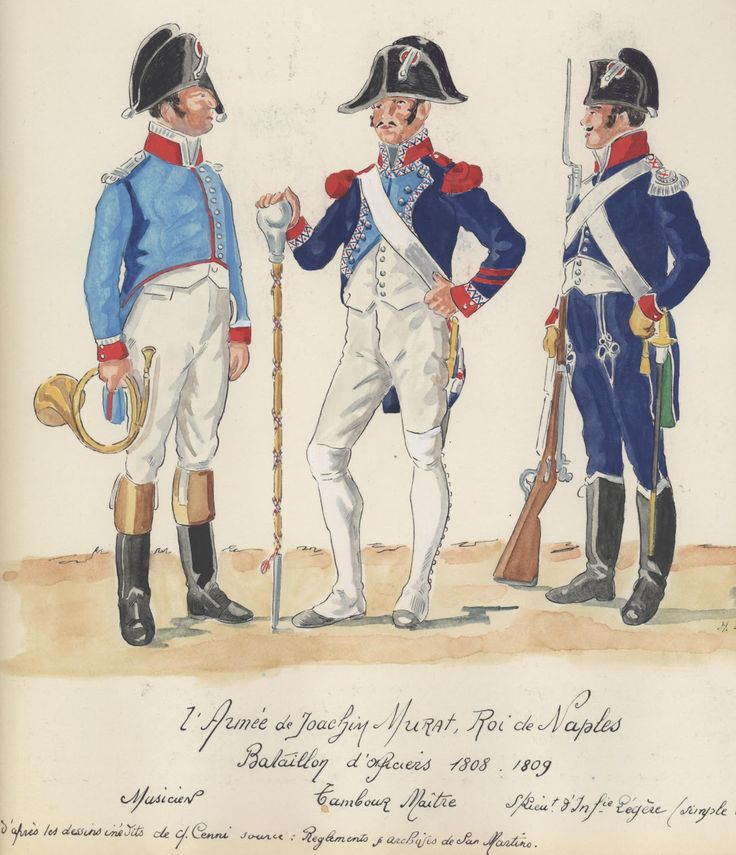 Naples; 2e Armee. 1808-1810. Bataillion d'Officiers.San Martino. Musicien, Tamburo maitre, Sottotenente di 8e infanterie Leger,  battaglione San Martino