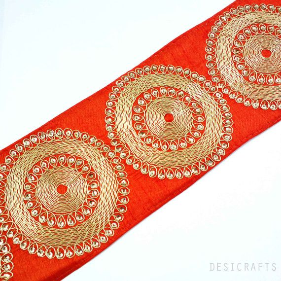 Rust and Gold Gota Patti - Sari Border - Gota Ribbon for Wedding Lehenga Dresses - Raw Silk Border, $4.25