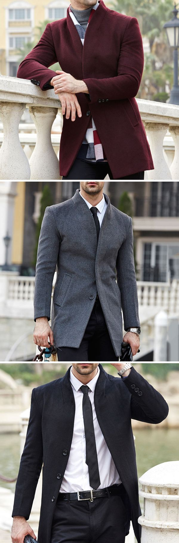 US$79.69 + Free shipping. Size: M~XL. Color: Black, Gray, Wine Red, Navy. Fall in love with casual and business style! Mens Wool Mid-long Business Casual Trench Coat Autumn Winter Slim Fit Jacket. #mens #jackets #business