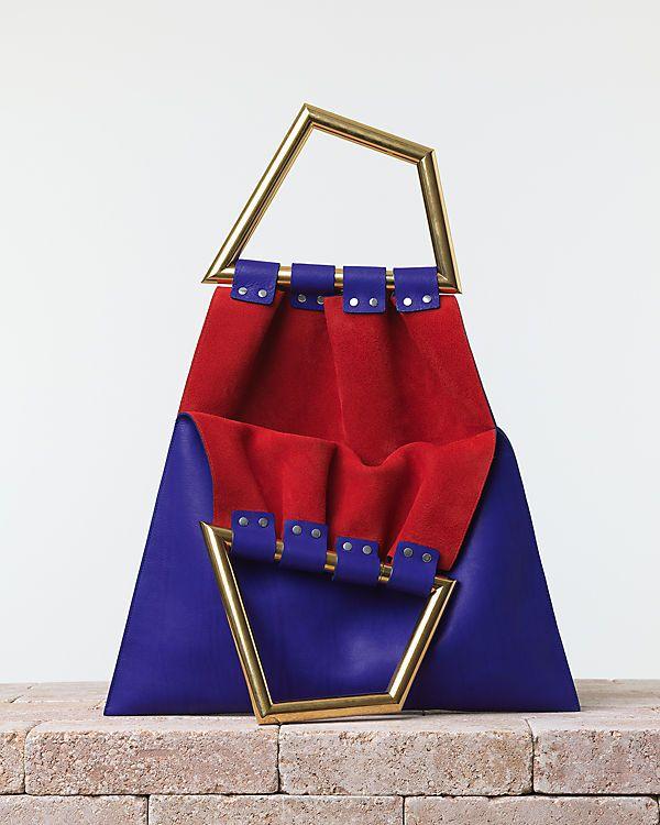 CÉLINE | Summer 2014 Leather goods and Handbags collection. Triangle handbag. In smooth calfskin indigo