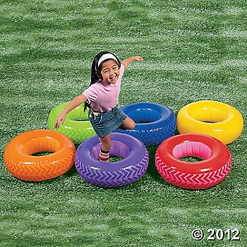 inflatable tire obstacle run from oriental trading. Could use hula hoops.  Could do jumps instead of tire run.
