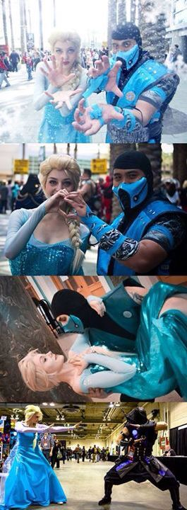 Elsa & Sub Zero cosplay Only pinned cause their cool cosplays