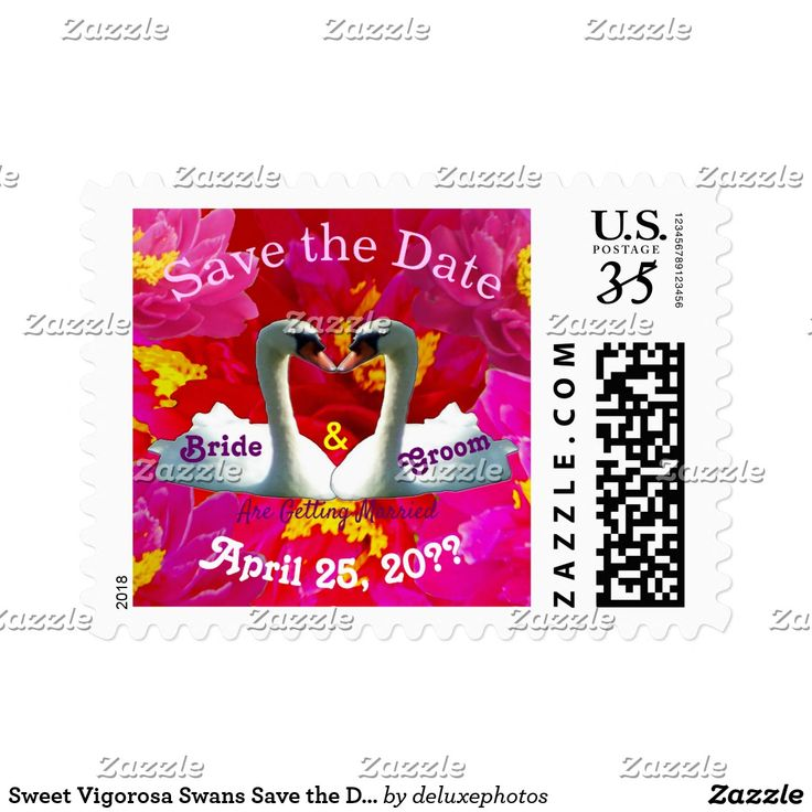 Sweet Vigorosa Swans Save the Date Postage
