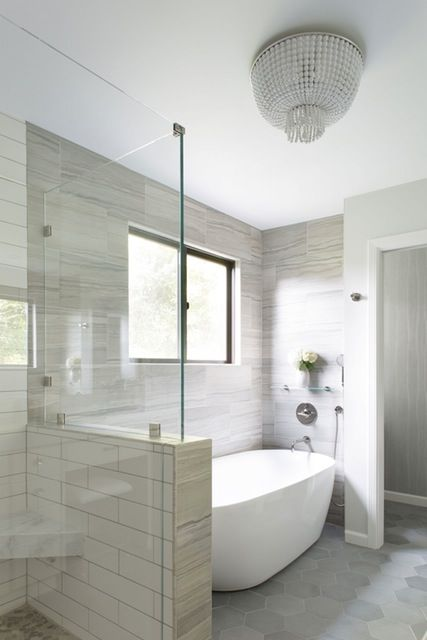 Layout option for shower  if stand-alone tub | Interior design byElena Calabrese Design & Decor