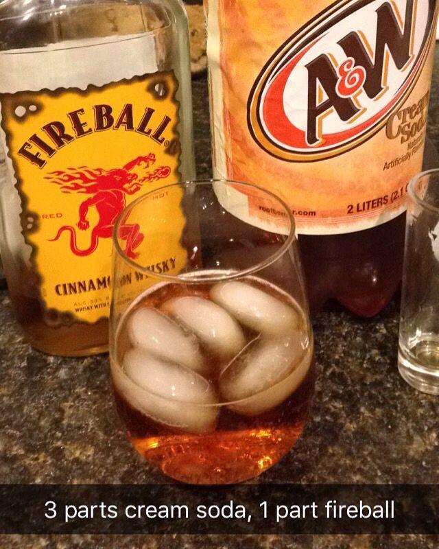 Fireball & Cream Soda. Tried it and it's delicious