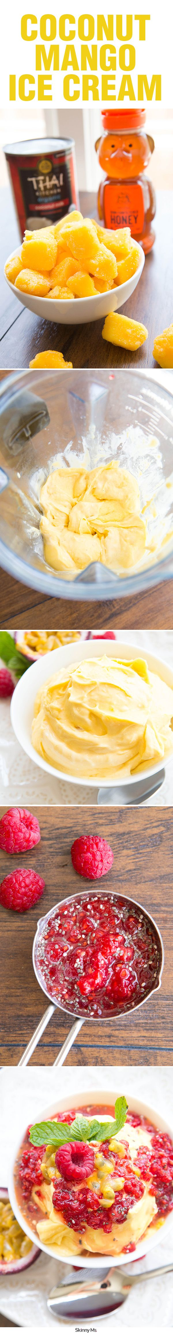 Make your own creamy, soft-serve style ice cream using just three ingredients: coconut milk, frozen fruit, and honey. #mangoicecream #healthyicecream #cleaneatingrecipes