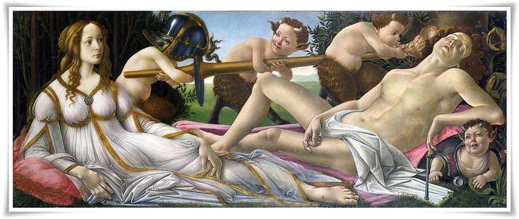 Venere e Marte -Sandro Botticelli, 1483. Se ha pensado que este cuadro pudo reflejar los amores de Juliano de Médici y Simonetta Vespucci. Se cree que trata el tema del poder del amor (Venus-Humanitas), esto es, el grado más elevado de la evolución humana, derrotando la fuerza del guerrero (Marte, dios de la guerra y fuerza destructiva).