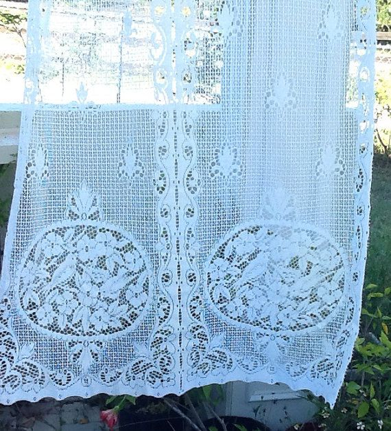 6 Antique White French Country Lace Curtain Panels