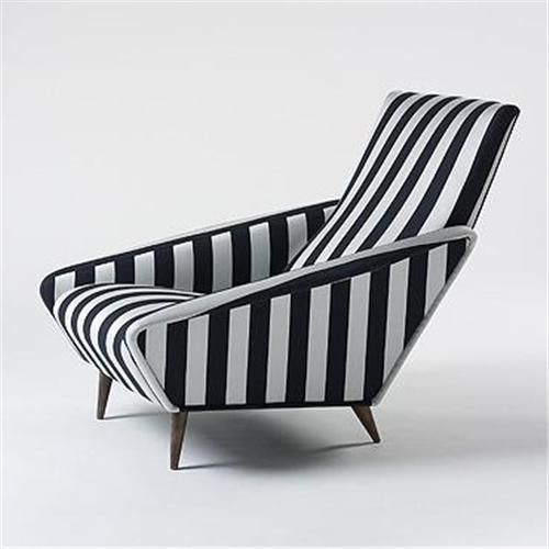Something to add to the chair porn list. Sexy angles and stripes. I need this chair.    Chaise by Gio Ponti 50's