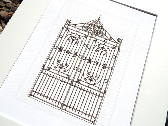 French Architectural Drawing of Iron Gate 1 Archival Quality Print on Watercolor Paper